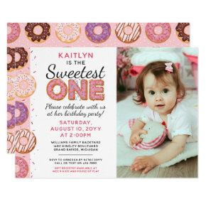 SWEETEST ONE Pink Iced Donuts First Birthday Photo Invitation