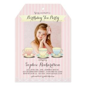 Sweetly Chic Birthday Tea Party Invitation