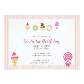 Sweets, Treats & First Birthdays Invitation