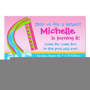 Swimming Pool Party - Pink Water Slide Birthday Invitation