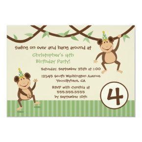 Swinging monkeys boy's birthday party Invitations