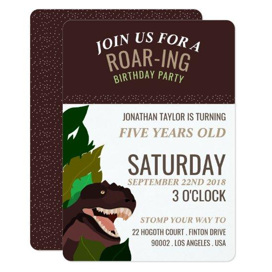 T Rex Dinosaur Party Childrens Birthday Invitations