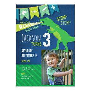 T REX Dinosaur Roaring Birthday Party Invitation