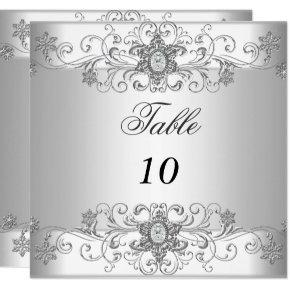 Table Number Cards Silver White Diamond
