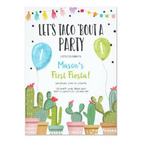 Taco Bout a Party Boy Blue First Fiesta Birthday Invitation