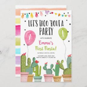 Taco Bout a Party Girl Pink First Fiesta Birthday Invitation