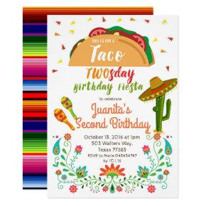 Taco TWOSday 2nd Birthday Party Fiesta Card