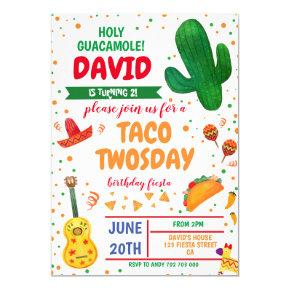 Taco Twosday Boy Birthday Fiesta Cactus Mexican Invitation