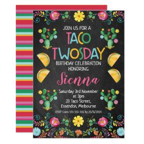 Taco Twosday Mexican 2nd Birthday Invitation