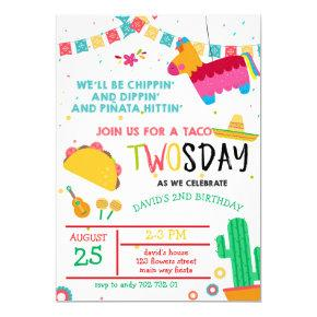 Taco Twosday Pinata Fiesta 2nd Birthday Invitation