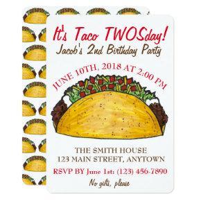 Taco TWOSday Tuesday 2nd Birthday Party Fiesta Card