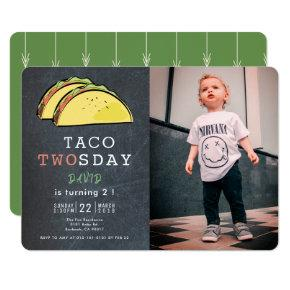 Taco Twosday Tuesday Chalkboard Photo 2nd Birthday Invitation