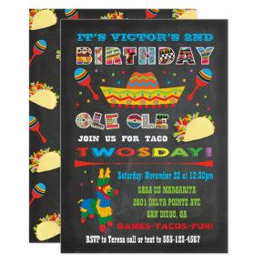 Taco Twosday Tuesday Mexican Fiesta 2nd Birthday Invitation