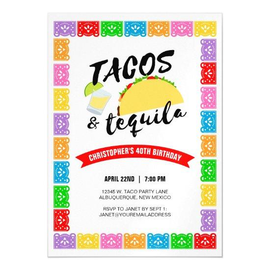 Tacos and tequila birthday party magnetic invitations candied clouds tacos and tequila birthday party magnetic invitations filmwisefo