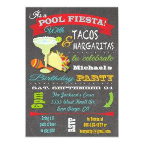 Tacos and Tequilla Pool Birthday Party Invitations