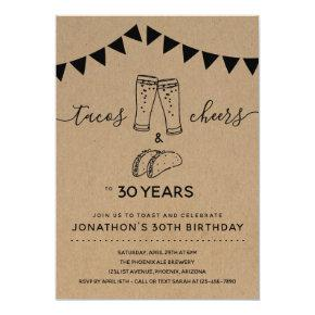 Tacos & Cheers & Beers Birthday Party - Any Age Invitation