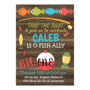 Take The Bait A Big One 1st Birthday Invitation