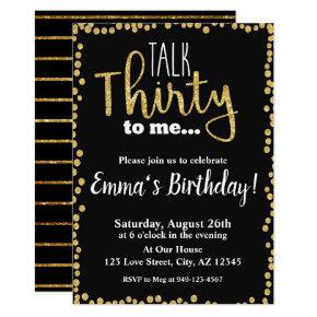 Talk Thirty to me black gold glitter 30th Birthday Invitation