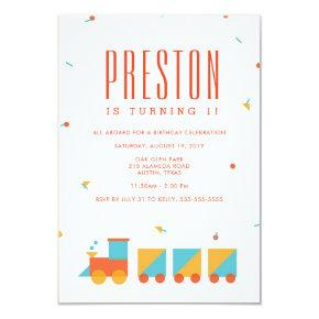 Tangram Train Birthday Invitations