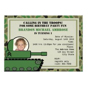 Tank Party Birthday/ Photo Invitation