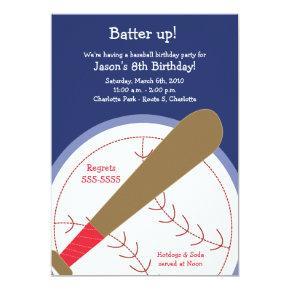 {TBA} BASEBALL Batter Up Birthday Invitations
