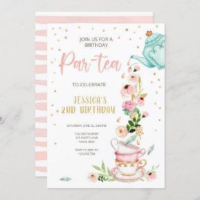 Tea Birthday Invitation Girl Party Par-tea Floral