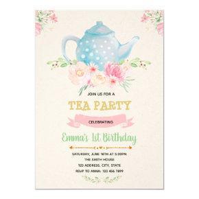 Tea birthday theme invitation