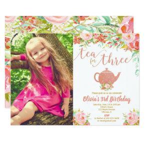 Tea for three rose gold 3rd birthday floral photo invitation