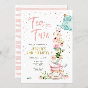 Tea for Two Birthday Invitation Floral Tea Party