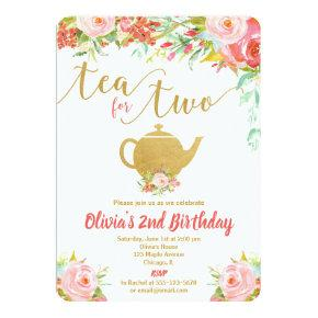 Tea for two floral gold birthday invitation girl