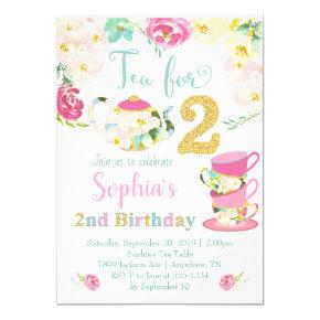 Tea for Two Girls 2nd Birthday Invitation