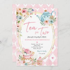 Tea For Two Pink And Gold Floral Birthday Party Invitation