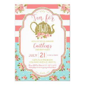 Tea For Two Pink Gold Glitter Birthday Invitation
