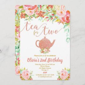 Tea for two rose gold birthday invitation girl