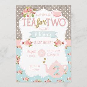 Tea for Two Second Birthday Invitation