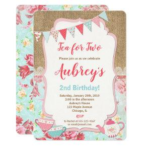 Tea for Two Tea Party birthday invitation girl