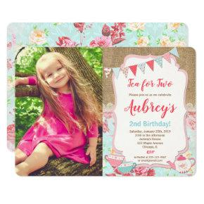 Tea for Two Tea Party girl floral birthday Invitations