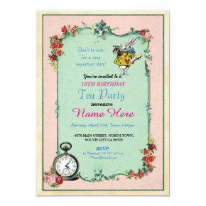Tea Party 18th Birthday Alice in Wonderland Invite