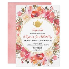 Tea Party 2nd birthday invitation girl Tea for Two