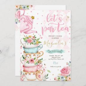 Tea Party Birthday Girl Pink & Gold Floral Par-tea Invitation