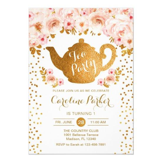 Tea Party Birthday - Gold White Pink Floral Invitation