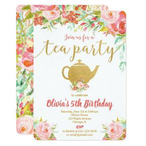 Tea party birthday Invitations girl floral gold