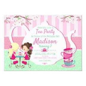 Tea Party Birthday Invitation / Girl / Pink Teal