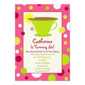 Tea Party Birthday Invitations - Pink And Green