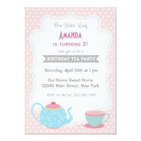 Tea Party Birthday Invitations Sweet Pink