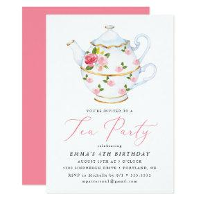 Tea Party Children's Birthday Party Invitations