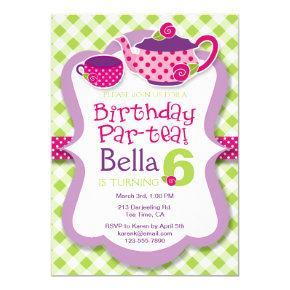 Tea Party Girls Birthday Party Invitation