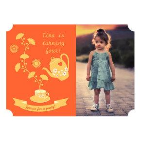Tea Time Girl Birthday Party Photo Invitations