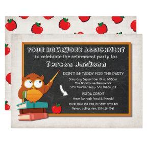 Teacher Owl with chalkboard party invitation