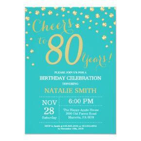 Teal and Gold 80th Birthday Diamond Invitation